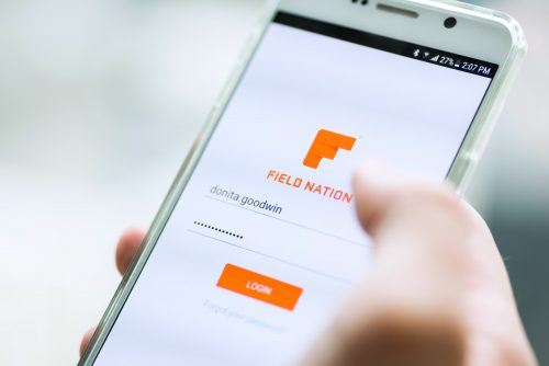 field nation app with hand